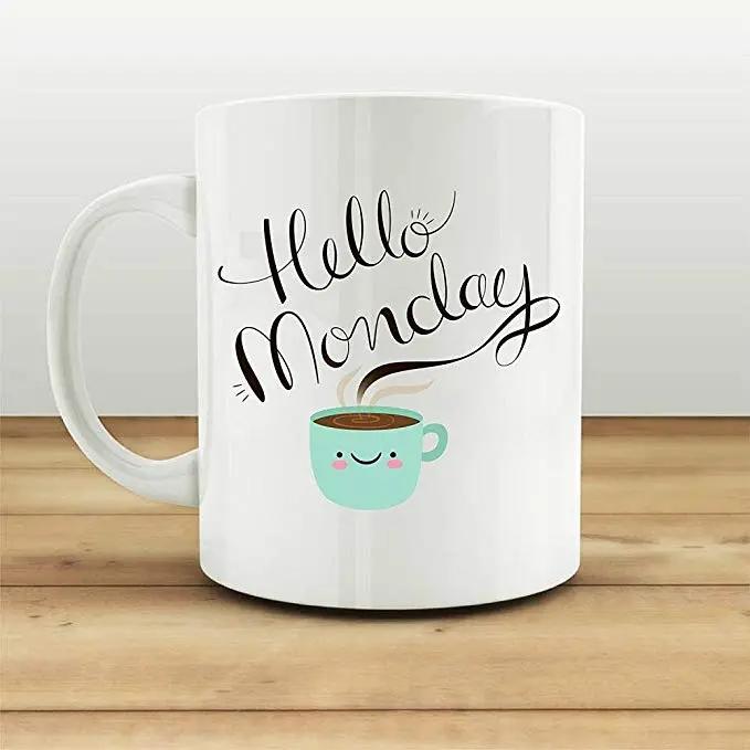 Amazon.com: Hello Monday Coffee Mug Funny Cup Gifts For Her Tea ... #mondayCoffee