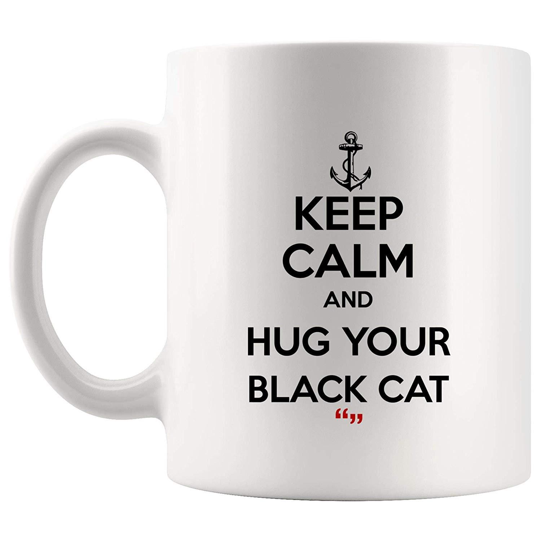 Amazon.com: Keep Calm Hug Your Black Cat Cats Pet Coffee Mug Funny ... #blackCoffee
