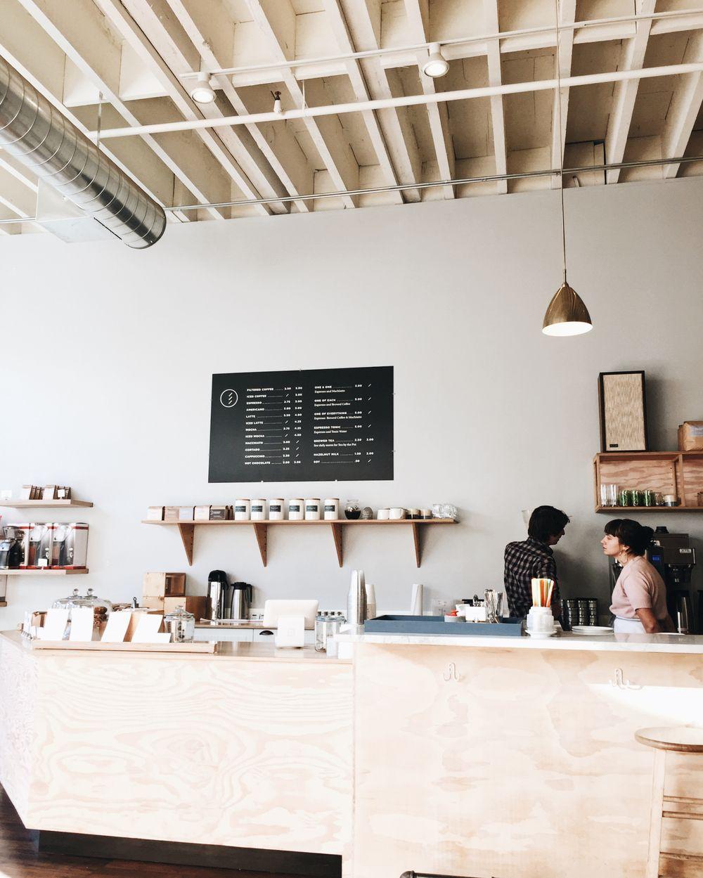 Elm Coffee, Seattle | Minimalist | Coffee shop design, Coffee cafe ... #coffeeShop