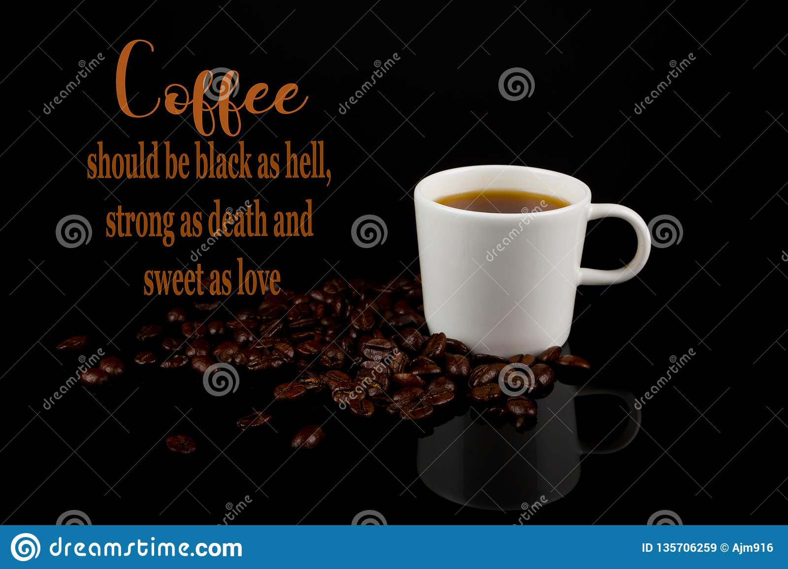 Funny Coffee Memes,black As Hell And Sweet As Love Stock Image ... #strongCoffee