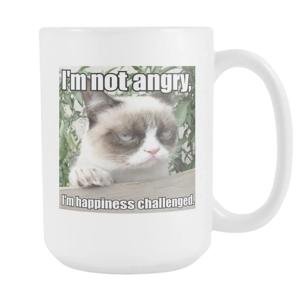 Not Angry funny cat meme double sided 15 ounce coffee mug | Cat ... #angryCoffee
