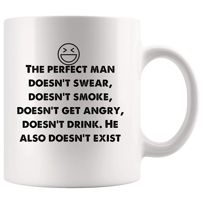 Amazon.com: Perfect man doesn't exist. Funny Mugs - Joke Coffee ... #angryCoffee