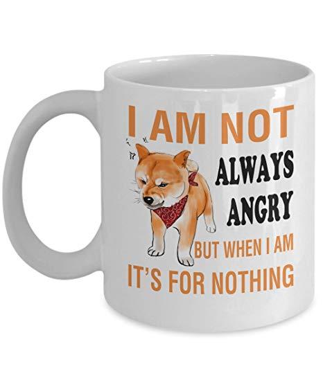 Amazon.com: Dog - Shiba Inu - Funny Coffee Mug 11 oz - Gift For ... #angryCoffee