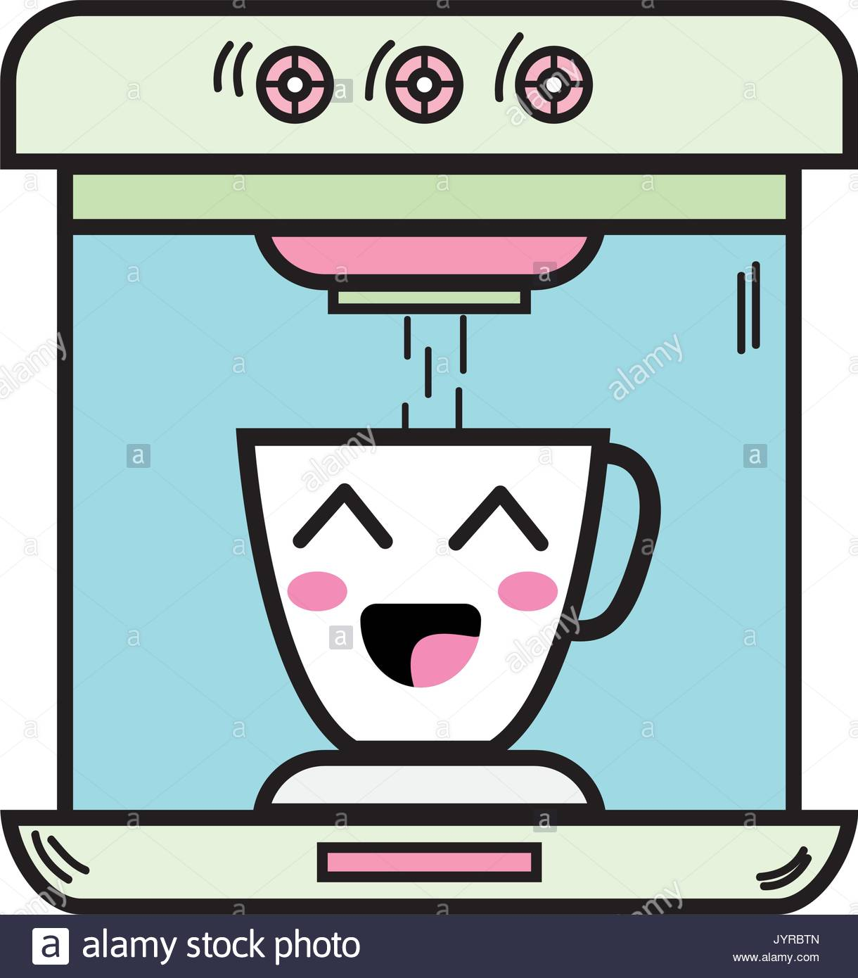 kawaii cute happy coffee maker technology Stock Vector Art ... #happyCoffee