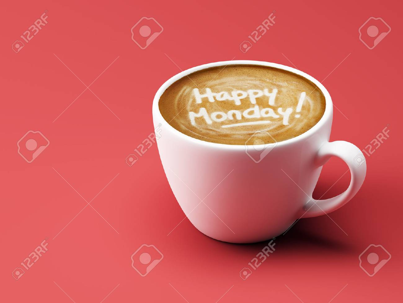 Happy Monday Coffee Cup Concept Isolated On Red Background Stock ... #mondayCoffee
