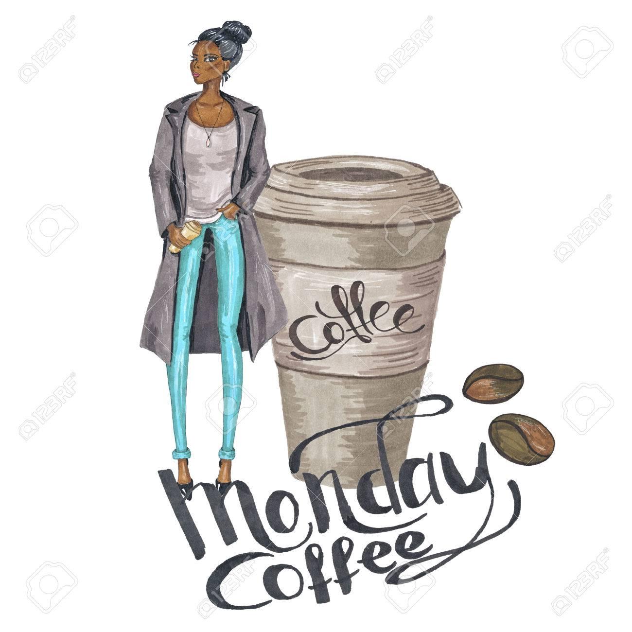 Hand-Painted Fashion Girl Monday Coffee Illustration Stock Photo ... #mondayCoffee