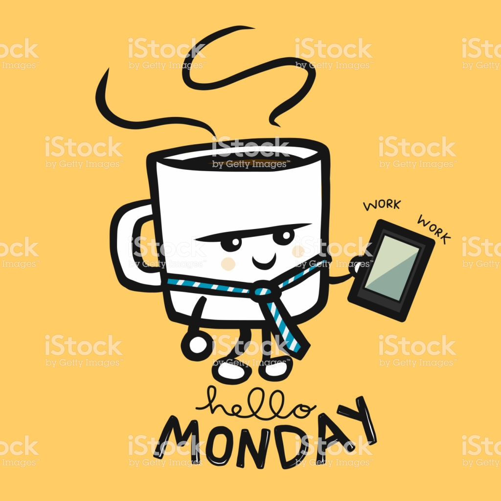 Hello Monday Coffee Business Man Working Cartoon Character Doodle ... #mondayCoffee