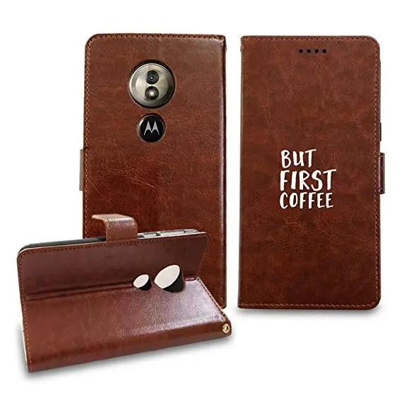 Amazon.com: [NickyPrints] Leather Wallet Case for Motorola Moto G6 ... #coffeeLovers