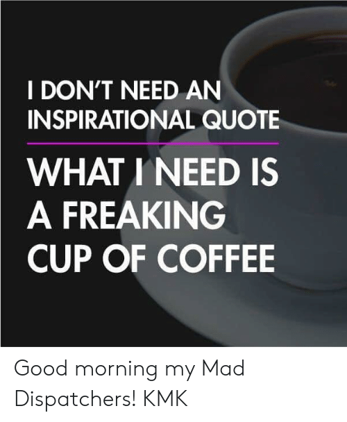 I DON'T NEED AN INSPIRATIONAL QUOTE WHAT INEED IS a FREAKING CUP ... #goodMorningCoffee