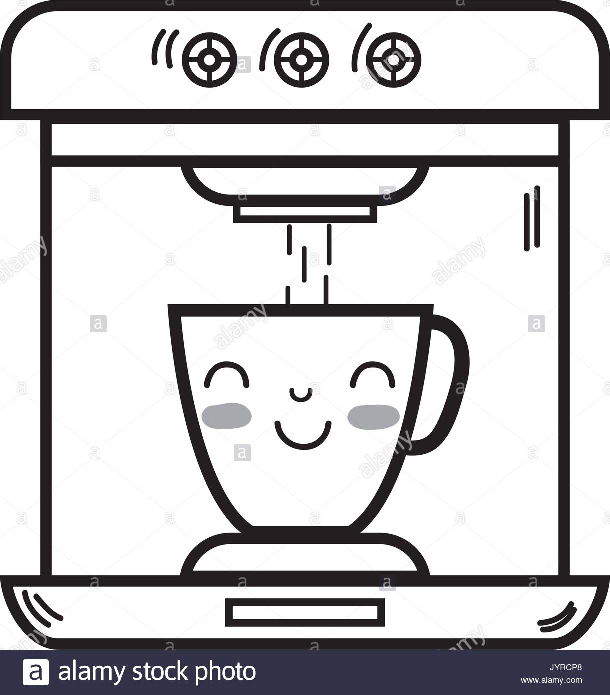 line kawaii cute happy coffee maker technology Stock Vector Art ... #happyCoffee