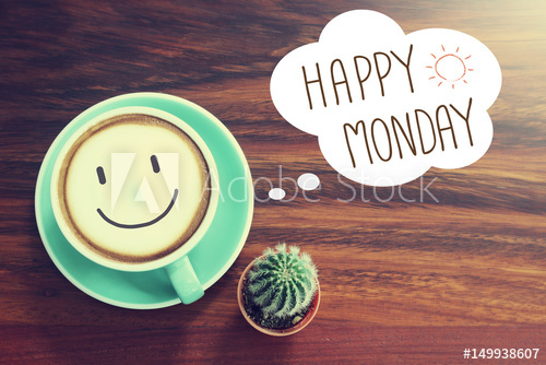 Happy Monday coffee cup background with vintage filter - Buy this ... #mondayCoffee
