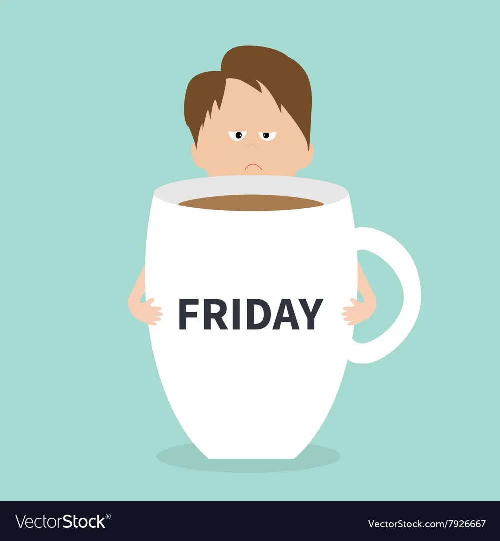 Sleepy businessman manager hugs Friday coffee cup Vector Image #coffeeFriday