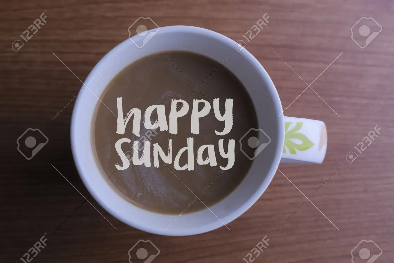 Message Happy Sunday Coffee Cup And Business Strategy On Wooden ... #sundayCoffee