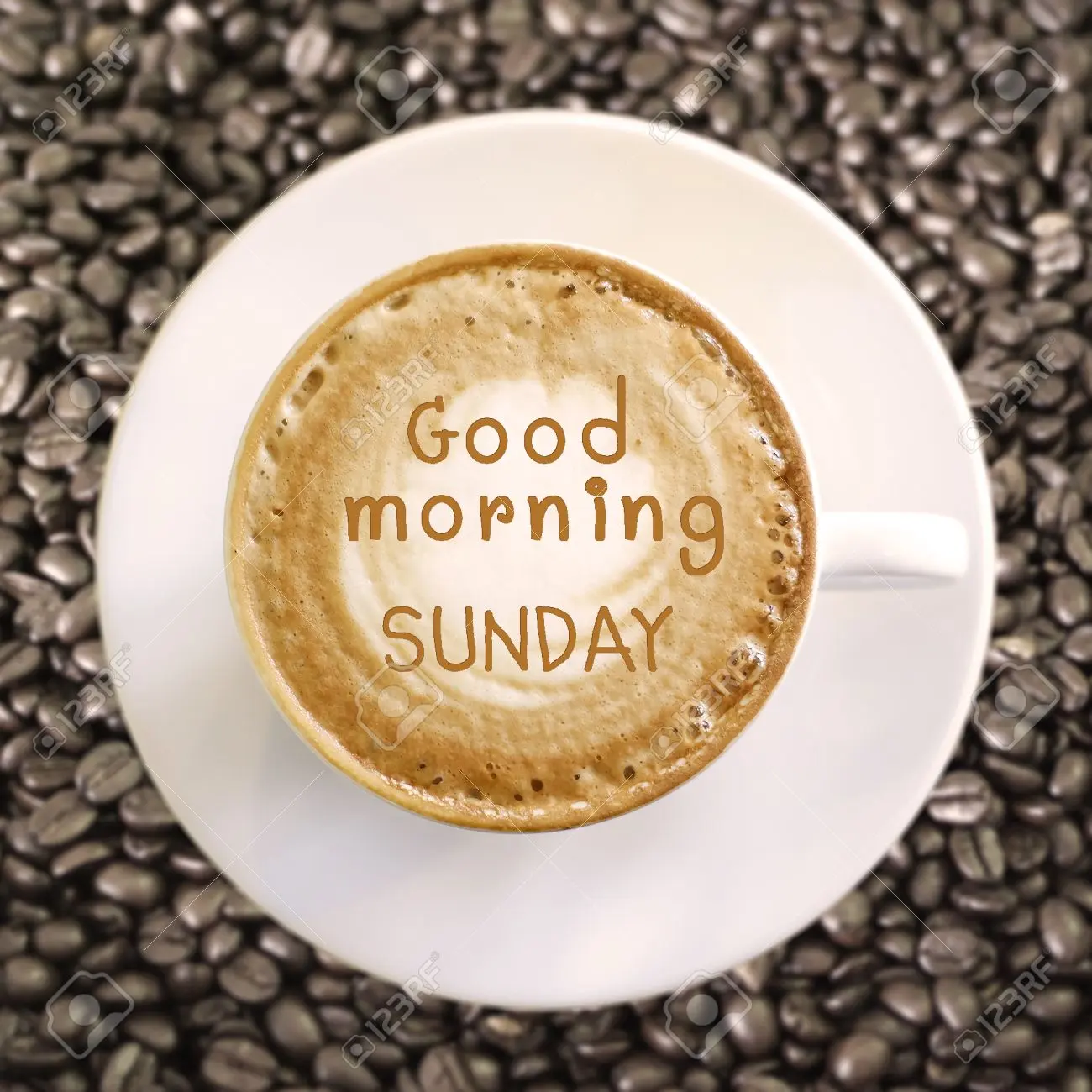Good Morning Sunday On Hot Coffee Background Stock Photo, Picture ... #sundayCoffee