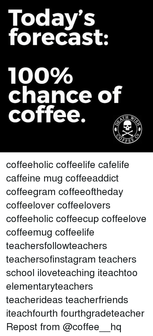 Today's Forecast 100%% Chance of Coffee FFEE Coffeeholic ... #notEnoughCoffee